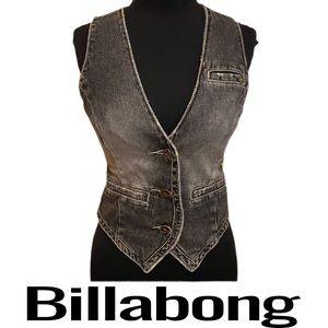 Billabong Black Gray Distressed Denim Vest Size M